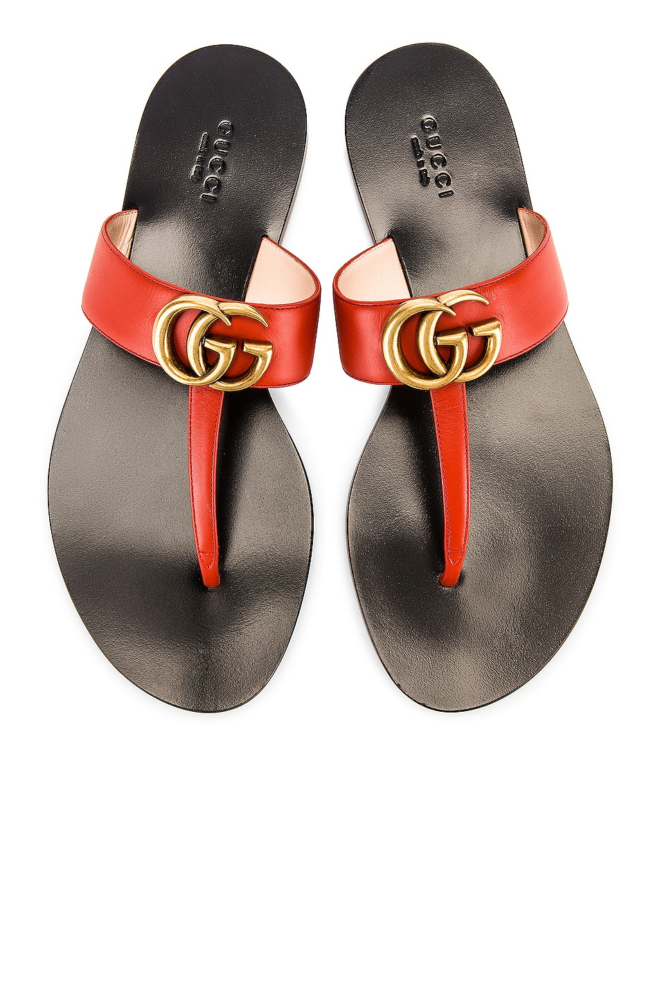Image 1 of Gucci Double G Leather Thong Sandals in Bright Pumpkin