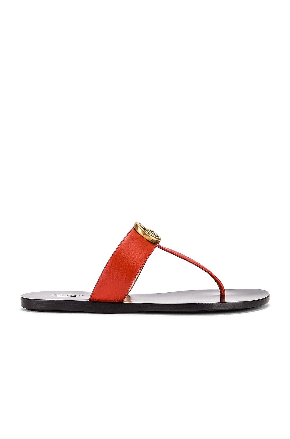 Image 2 of Gucci Double G Leather Thong Sandals in Bright Pumpkin