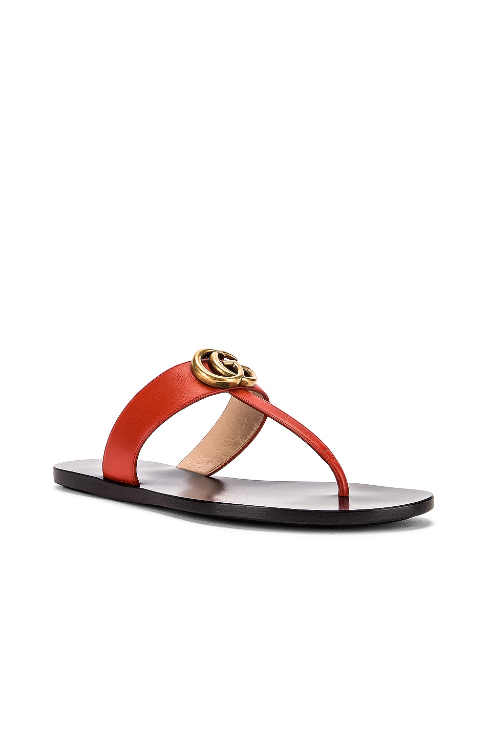 Image 3 of Gucci Double G Leather Thong Sandals in Bright Pumpkin