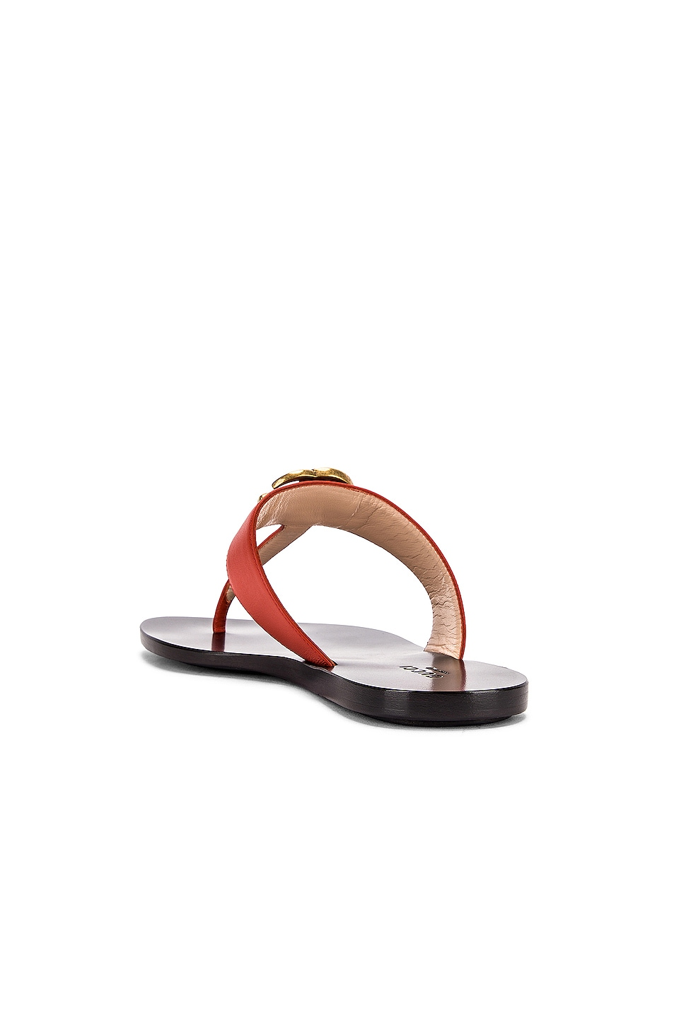 Image 4 of Gucci Double G Leather Thong Sandals in Bright Pumpkin