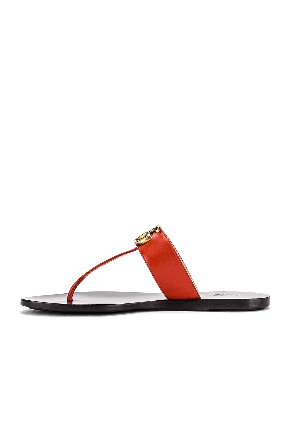 Image 5 of Gucci Double G Leather Thong Sandals in Bright Pumpkin