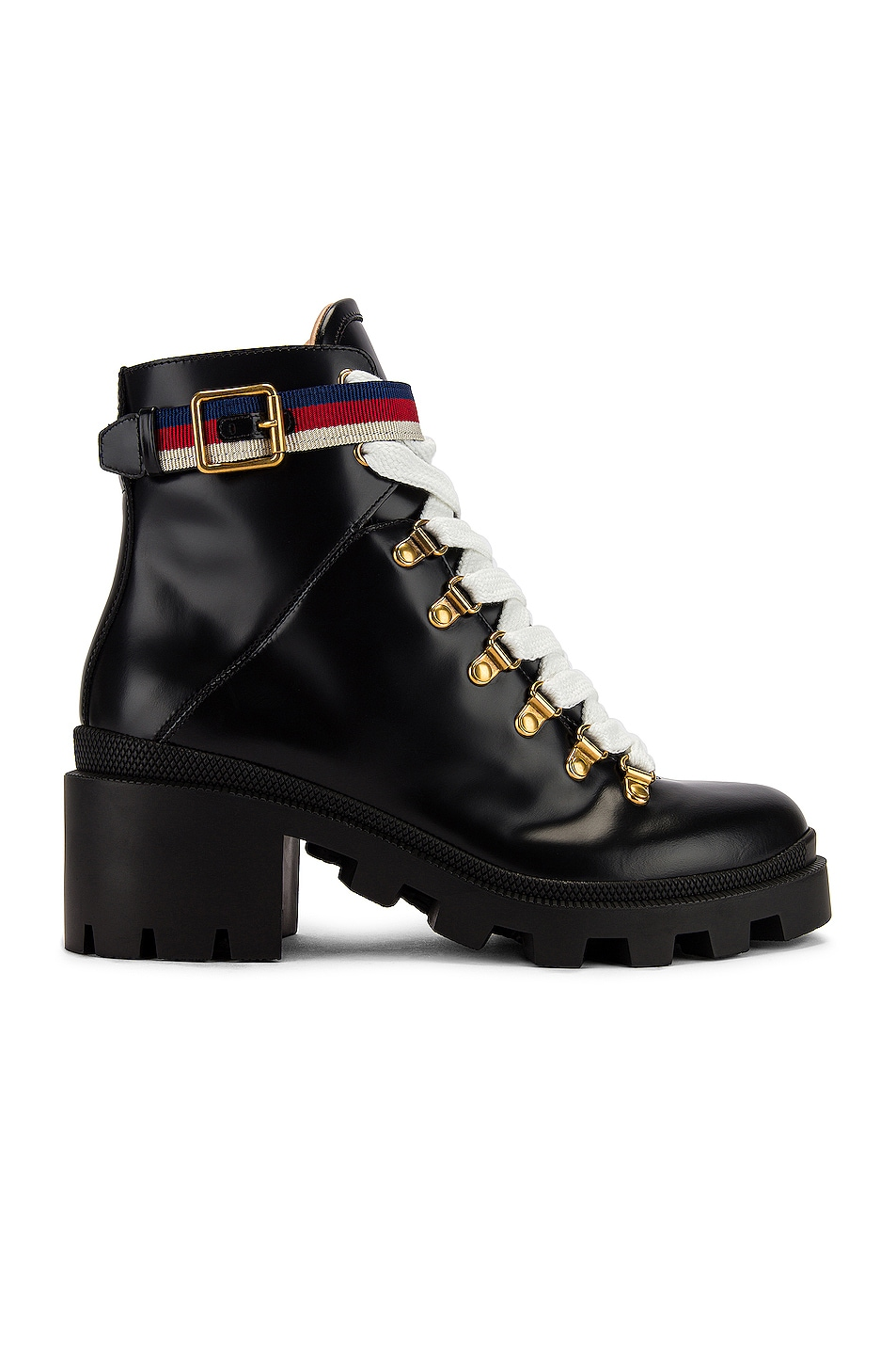 Image 1 of Gucci Trip Ankle Boots in Black & Red