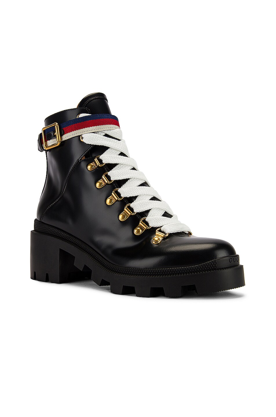 Image 2 of Gucci Trip Ankle Boots in Black & Red