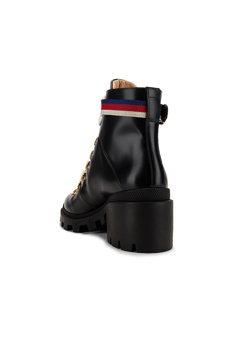 Image 3 of Gucci Trip Ankle Boots in Black & Red