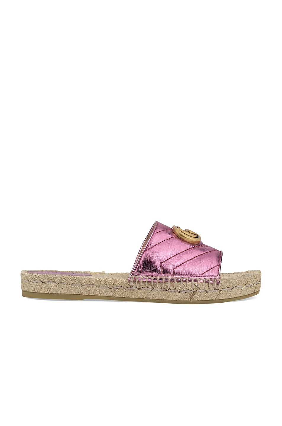 Image 1 of Gucci Leather Espadrille Sandals in Rosa