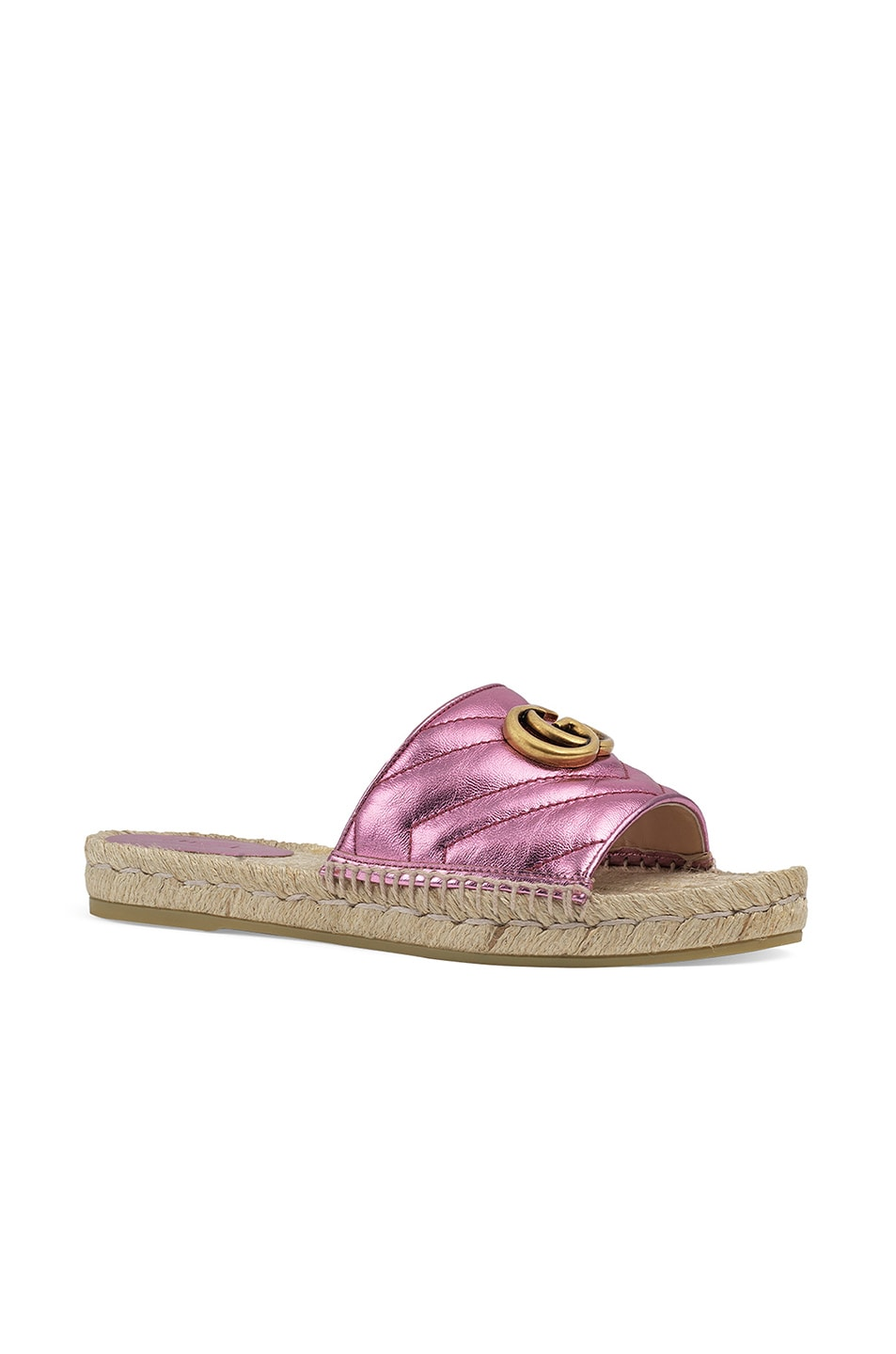 Image 2 of Gucci Leather Espadrille Sandals in Rosa