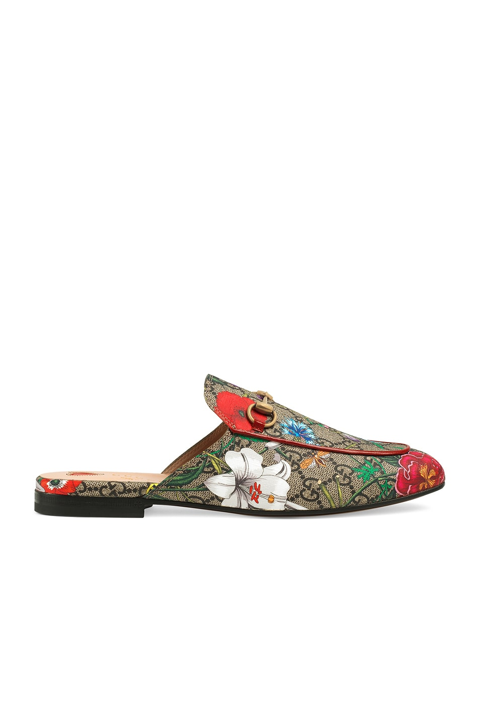Image 1 of Gucci Princetown Slides in Beige Ebony & Multi