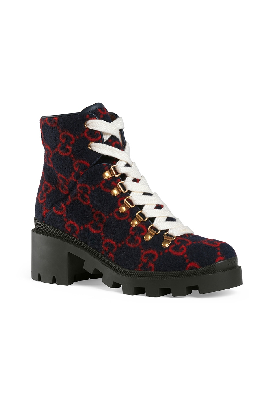 Image 2 of Gucci Wool Ankle Booties in Blue & Red