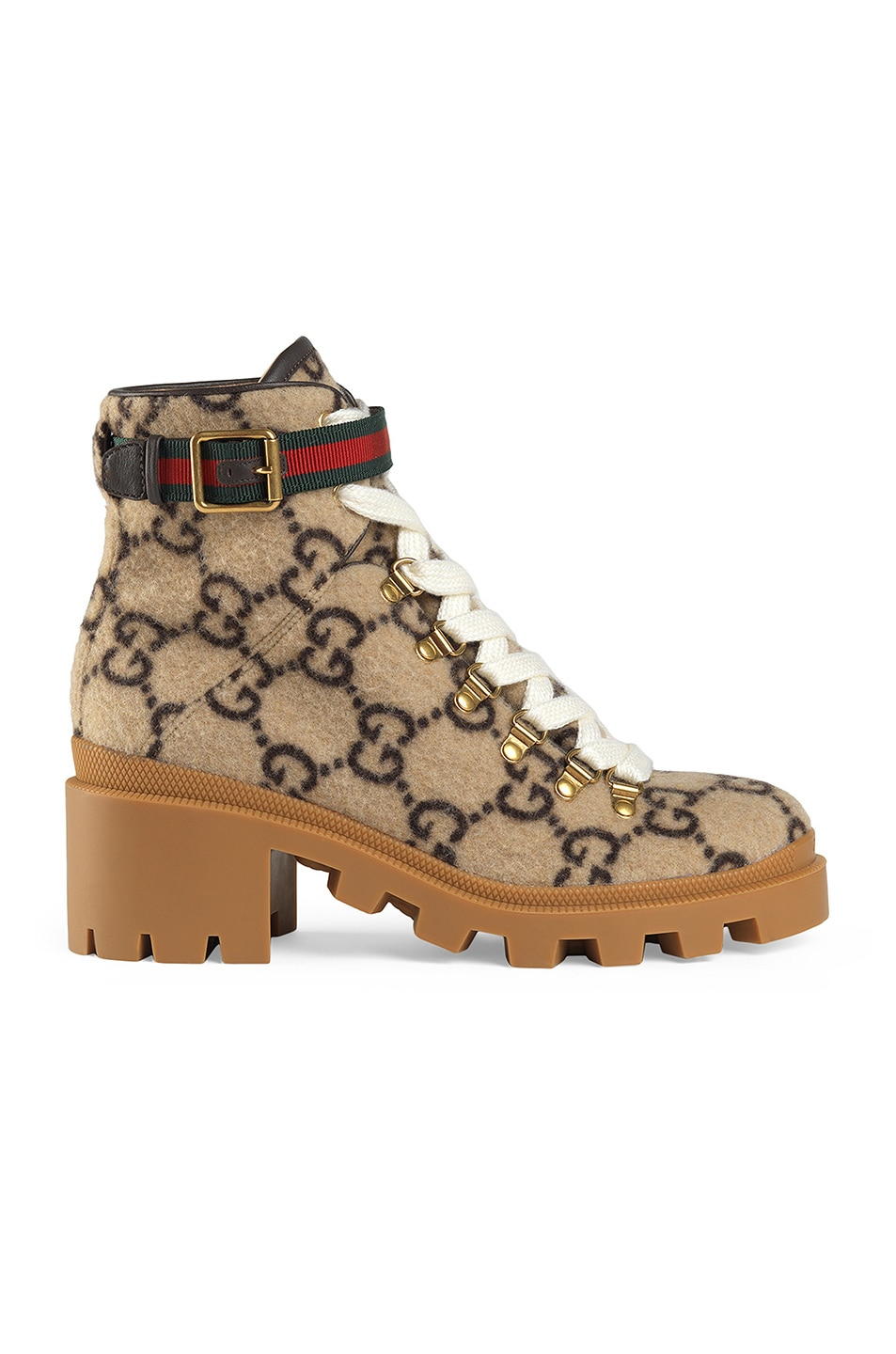 Image 1 of Gucci Wool Ankle Booties in Beige & Ebony