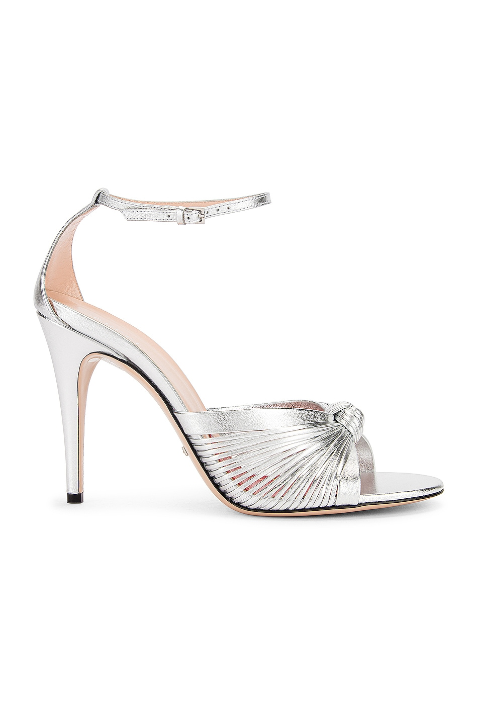 Image 1 of Gucci Crawford Metallic Ankle Strap Sandals in Silver