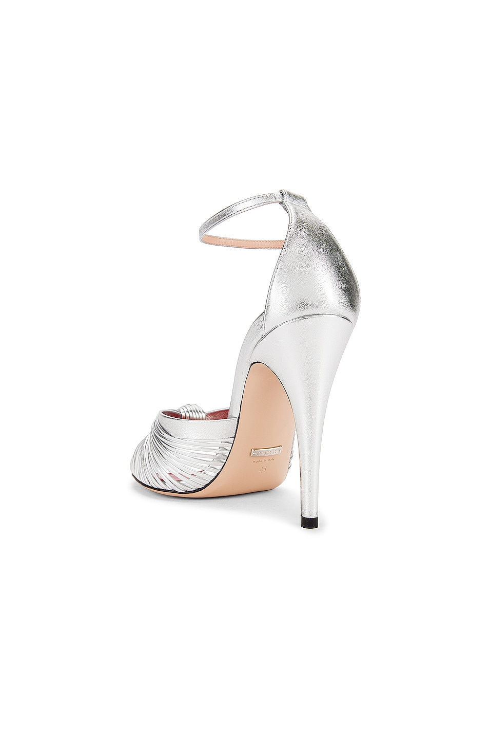 Image 3 of Gucci Crawford Metallic Ankle Strap Sandals in Silver