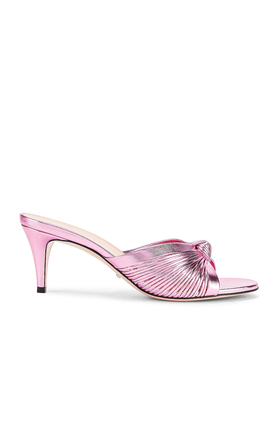 Image 1 of Gucci Metallic Leather Mid Heel Sandals in Rosa
