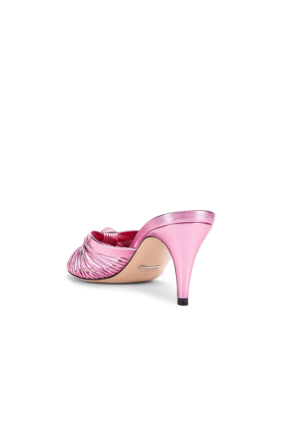 Image 3 of Gucci Metallic Leather Mid Heel Sandals in Rosa