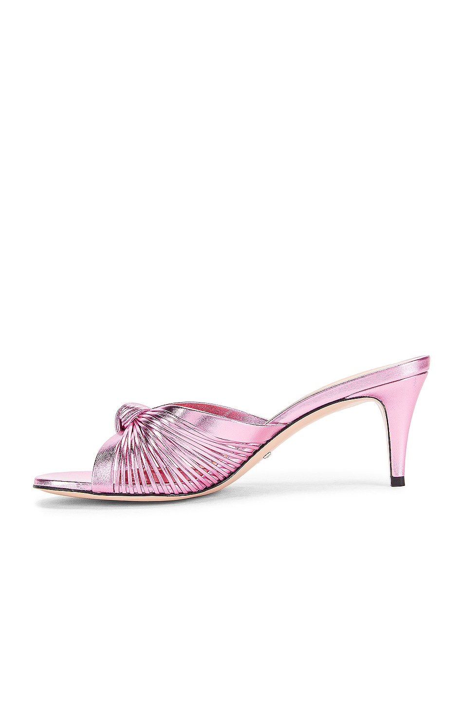 Image 5 of Gucci Metallic Leather Mid Heel Sandals in Rosa