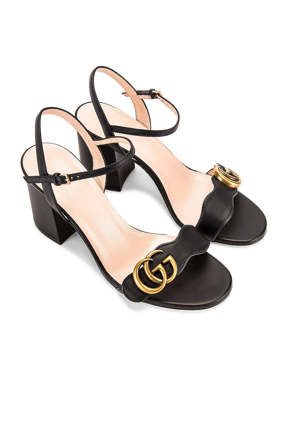 Image 1 of Gucci Leather Mid Heel Sandals in Black