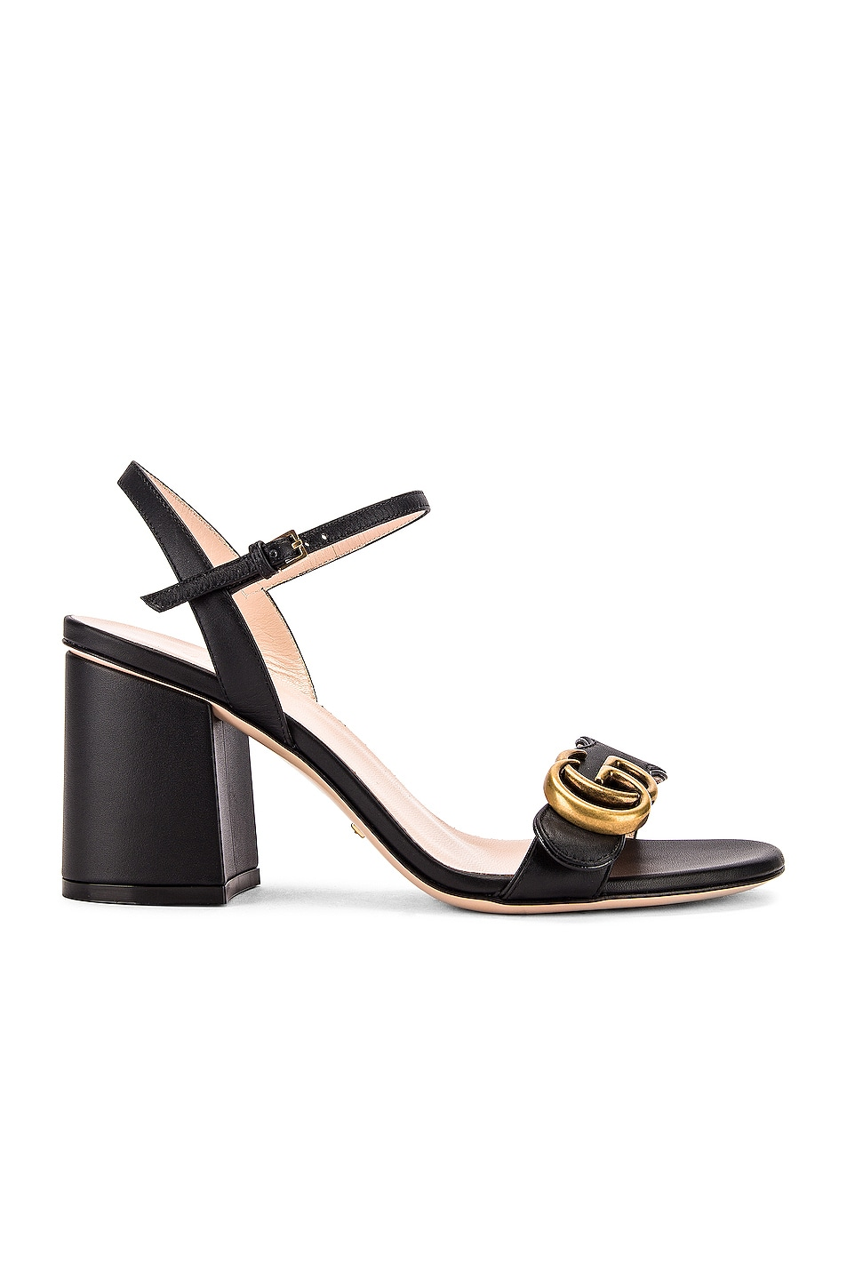 Image 2 of Gucci Leather Mid Heel Sandals in Black