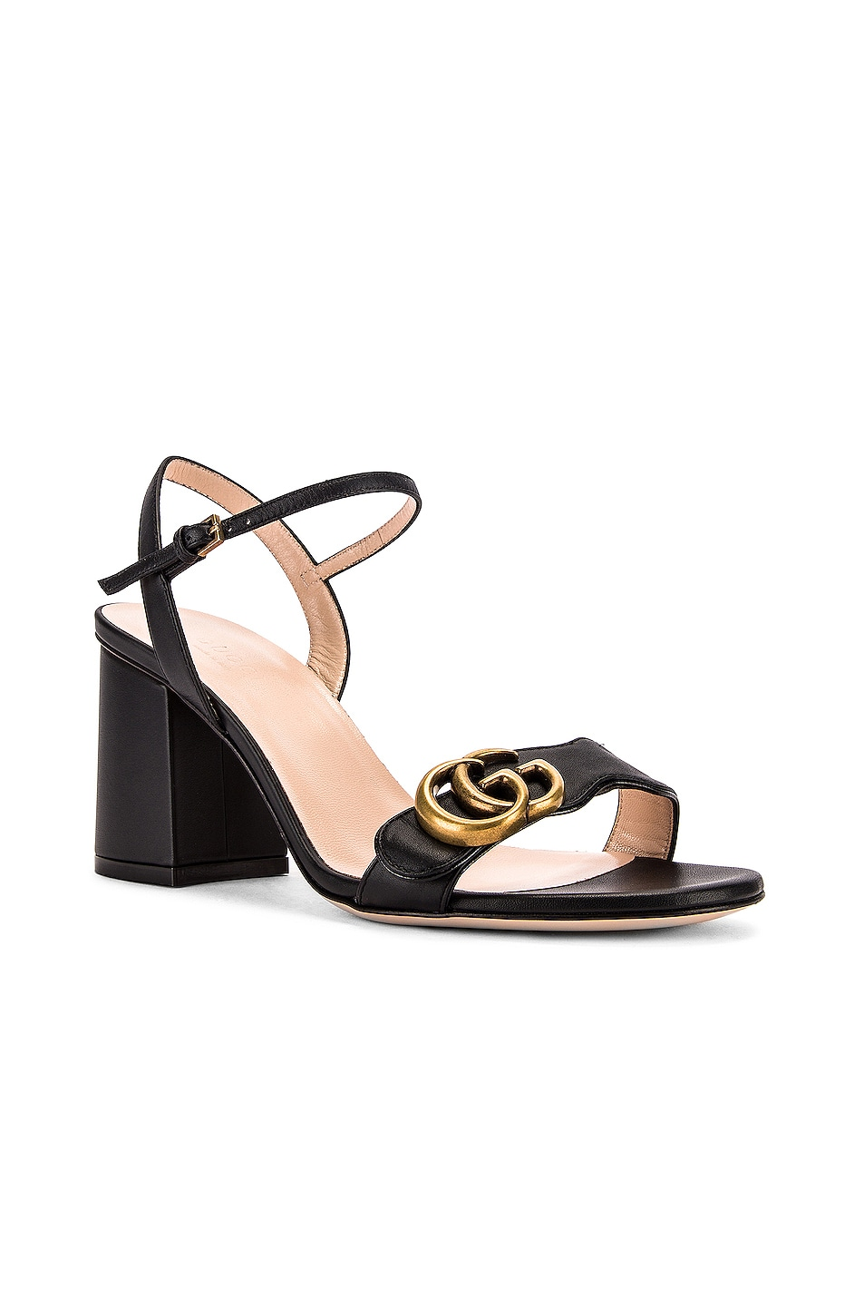 Image 3 of Gucci Leather Mid Heel Sandals in Black