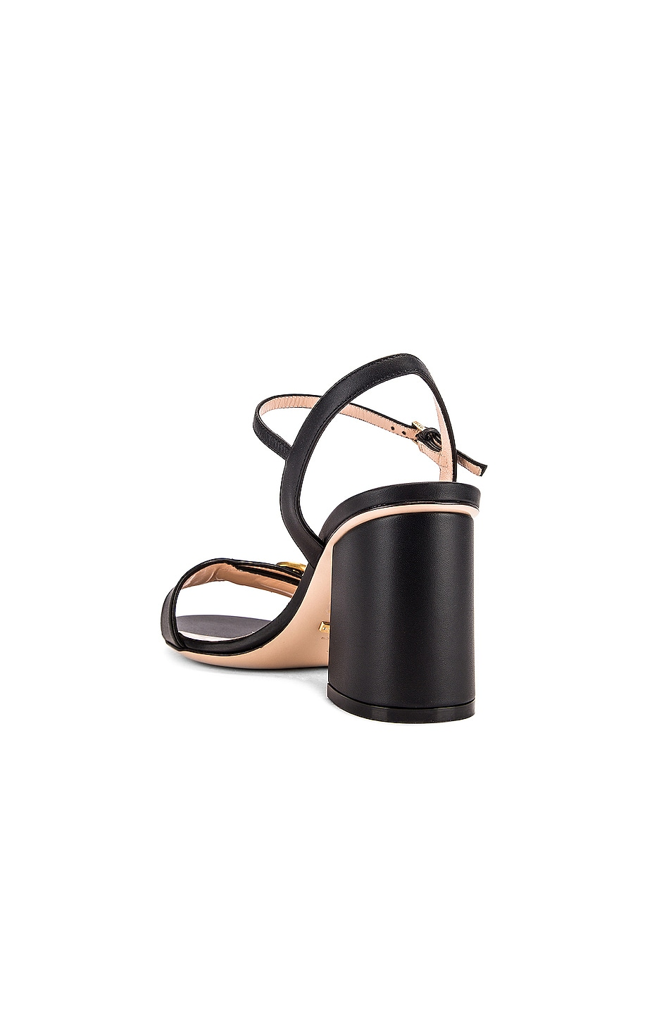 Image 4 of Gucci Leather Mid Heel Sandals in Black