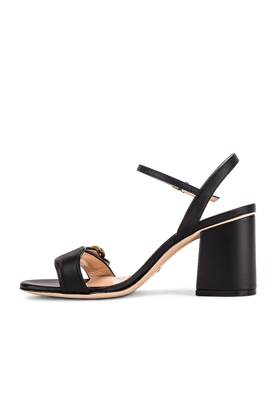Image 5 of Gucci Leather Mid Heel Sandals in Black