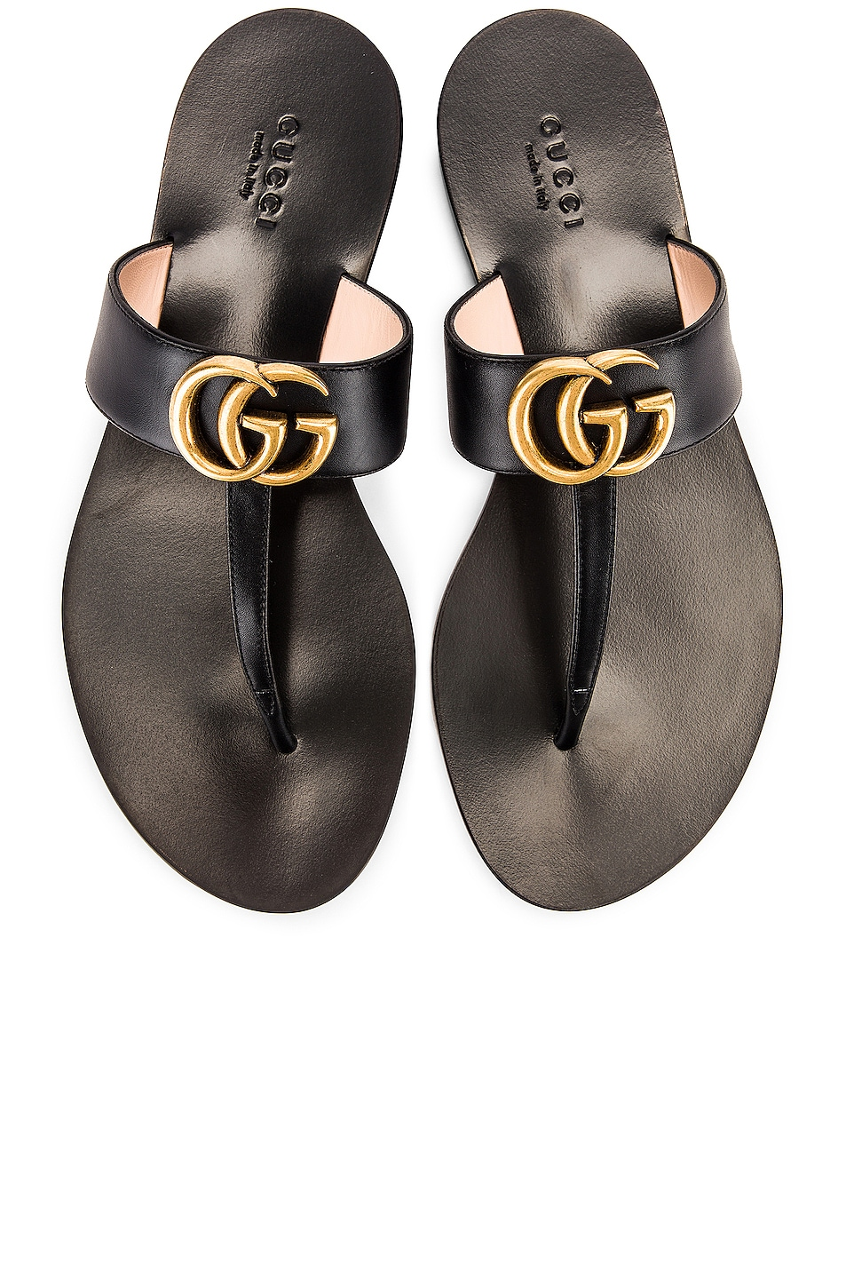 Image 1 of Gucci Double G Leather Thong Sandals in Black