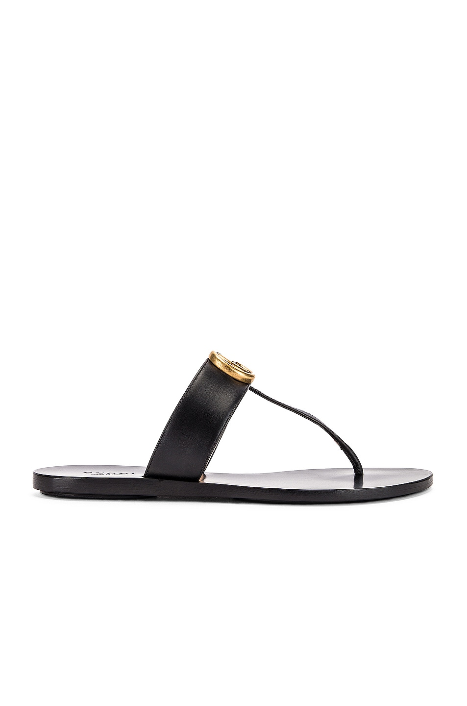 Image 2 of Gucci Double G Leather Thong Sandals in Black