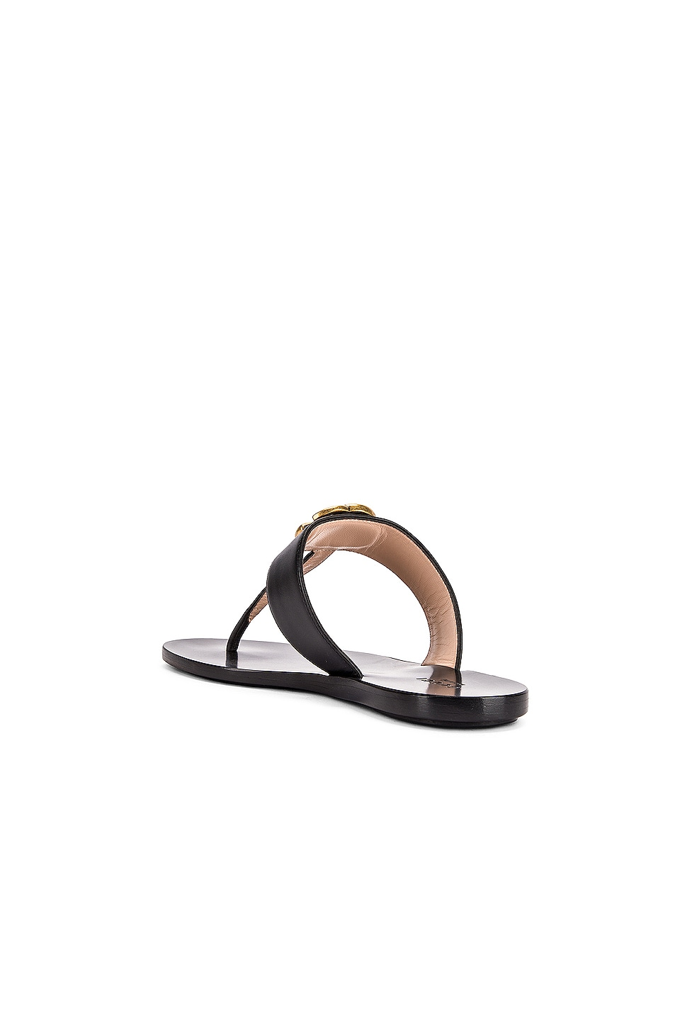 Image 4 of Gucci Double G Leather Thong Sandals in Black