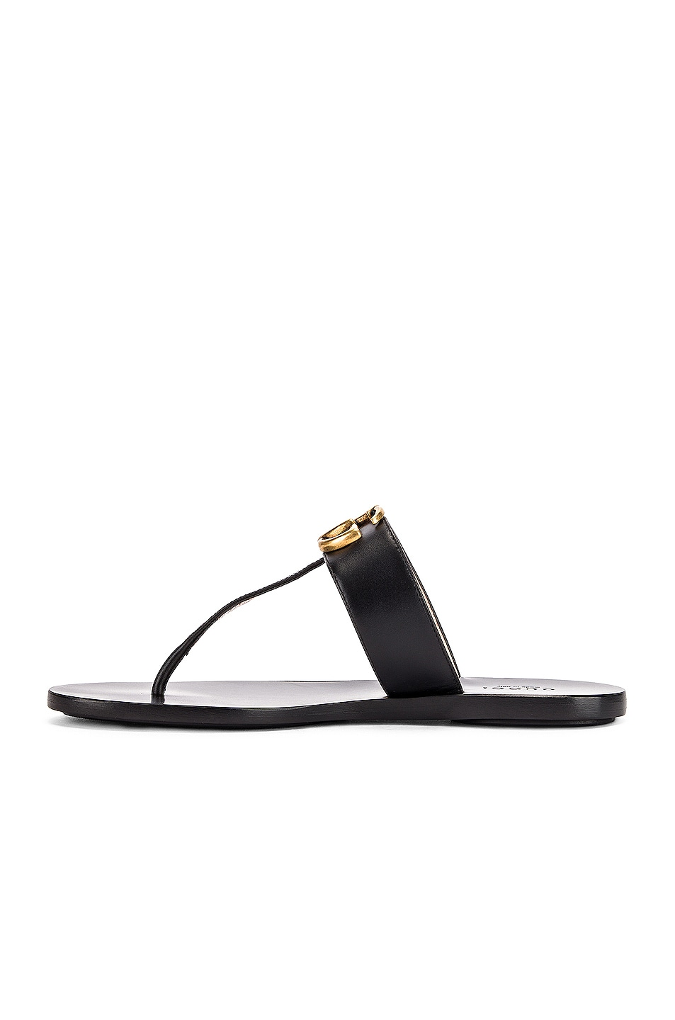 Image 5 of Gucci Double G Leather Thong Sandals in Black
