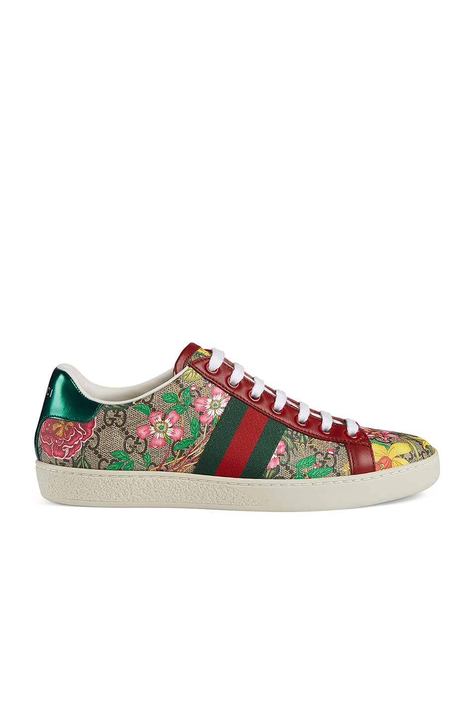 Image 1 of Gucci New Ace GG Floral Sneakers in Beige Ebony