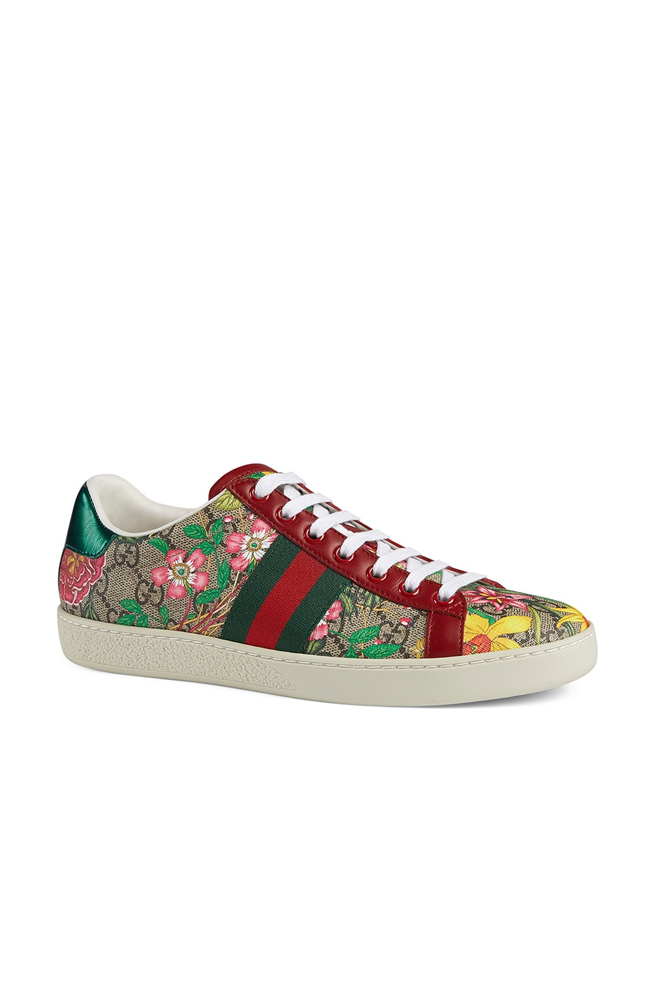 Image 2 of Gucci New Ace GG Floral Sneakers in Beige Ebony