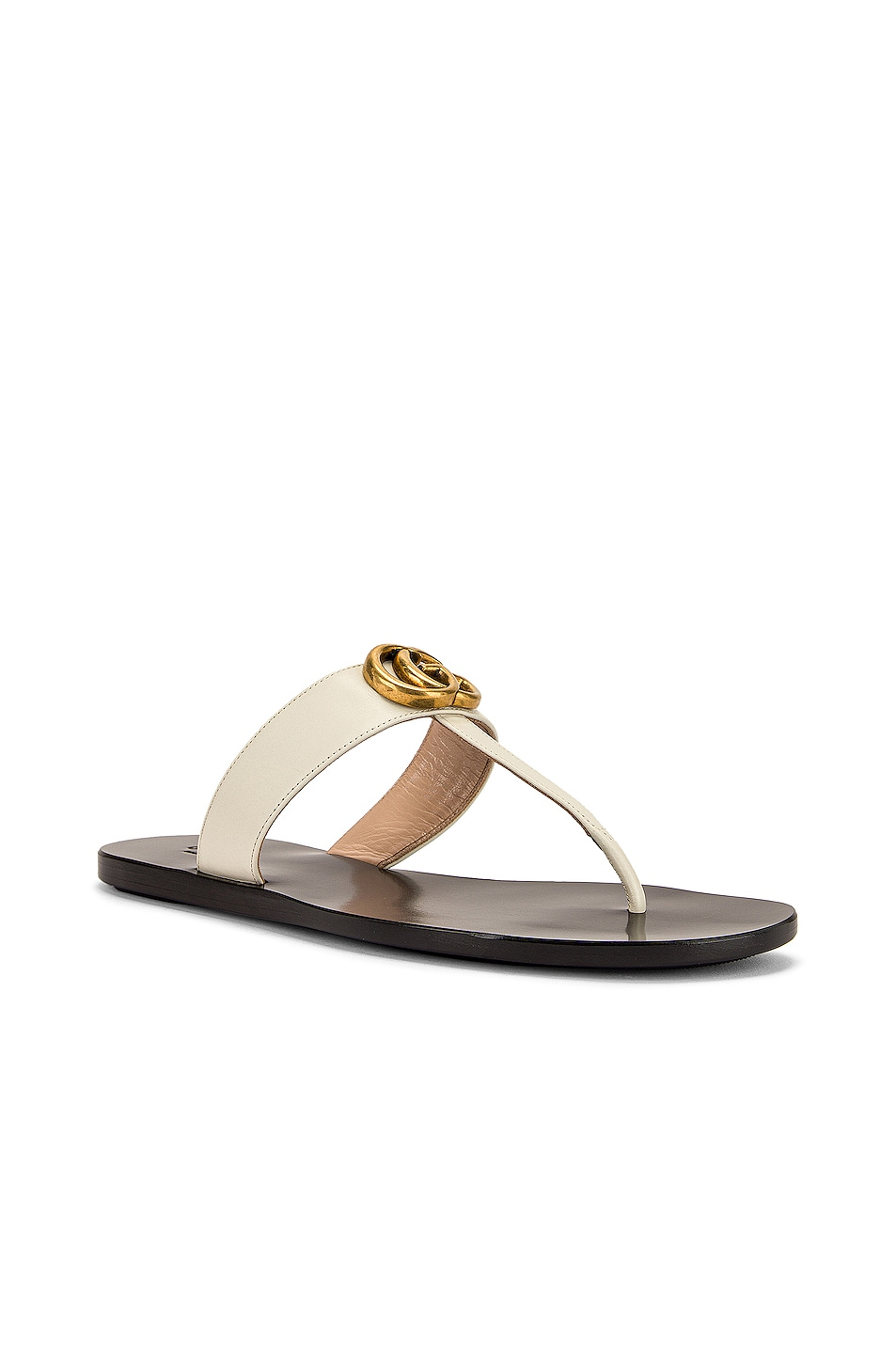 Image 3 of Gucci Marmont Thong Sandals in Mystic White