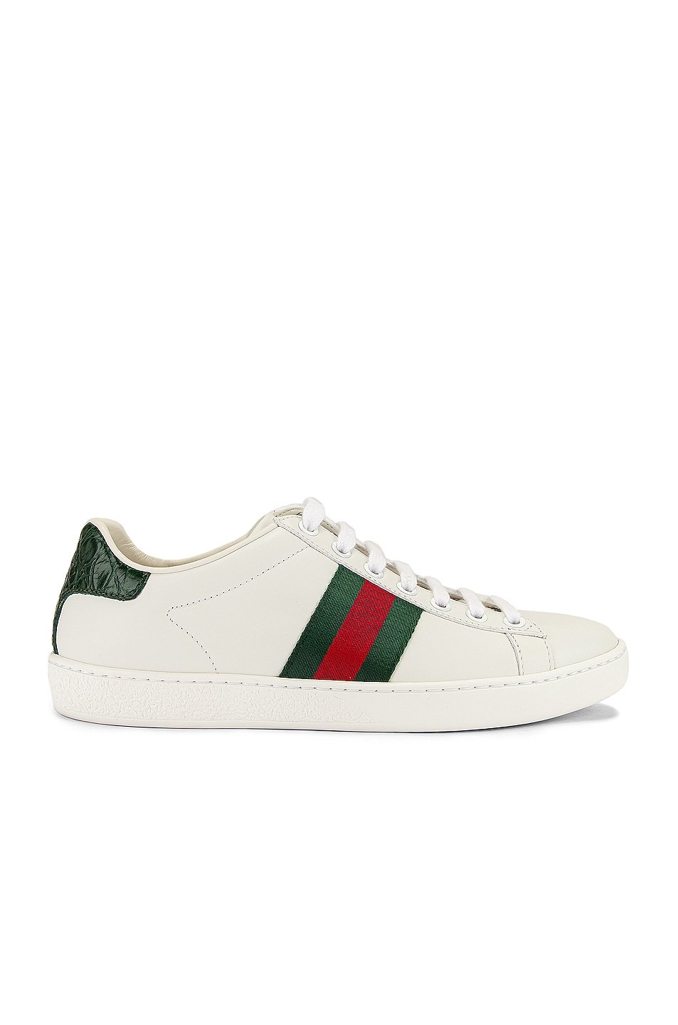 Image 1 of Gucci New Ace Basic Sneakers in White & Green