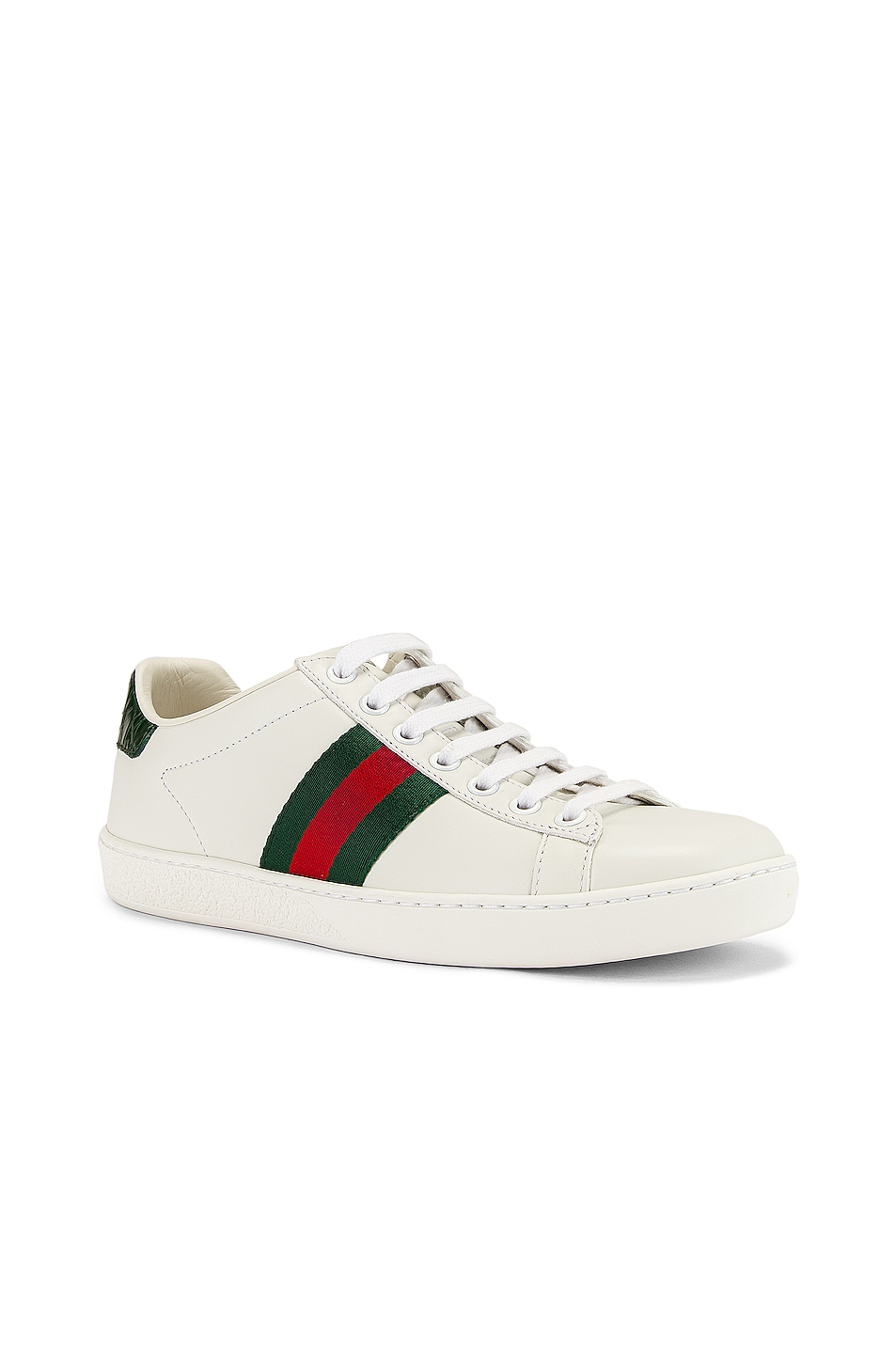 Image 2 of Gucci New Ace Basic Sneakers in White & Green