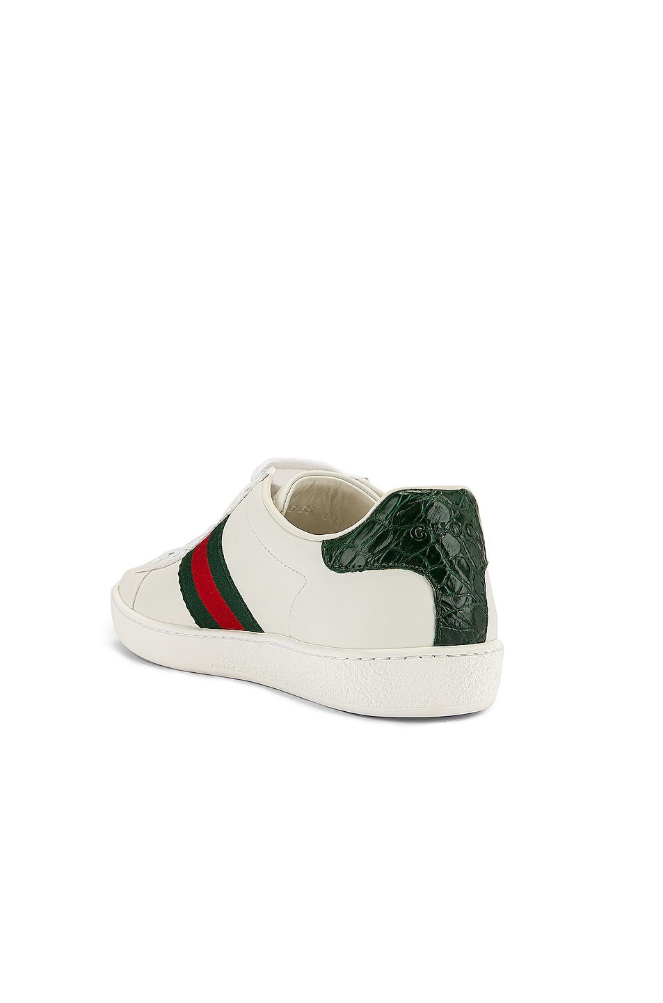 Image 3 of Gucci New Ace Basic Sneakers in White & Green