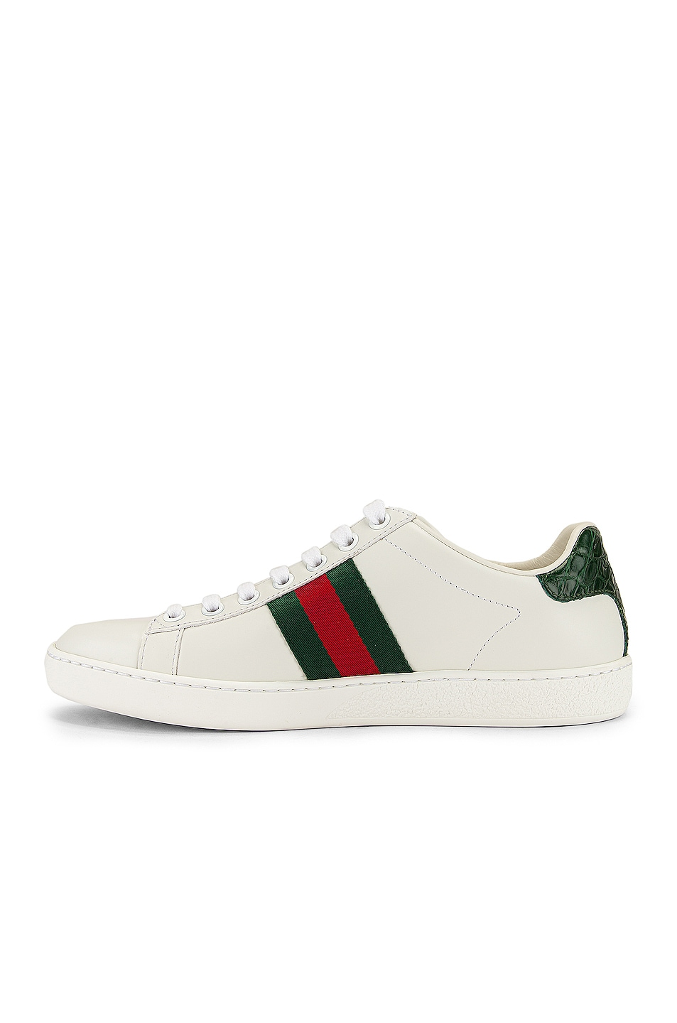 Image 5 of Gucci New Ace Basic Sneakers in White & Green