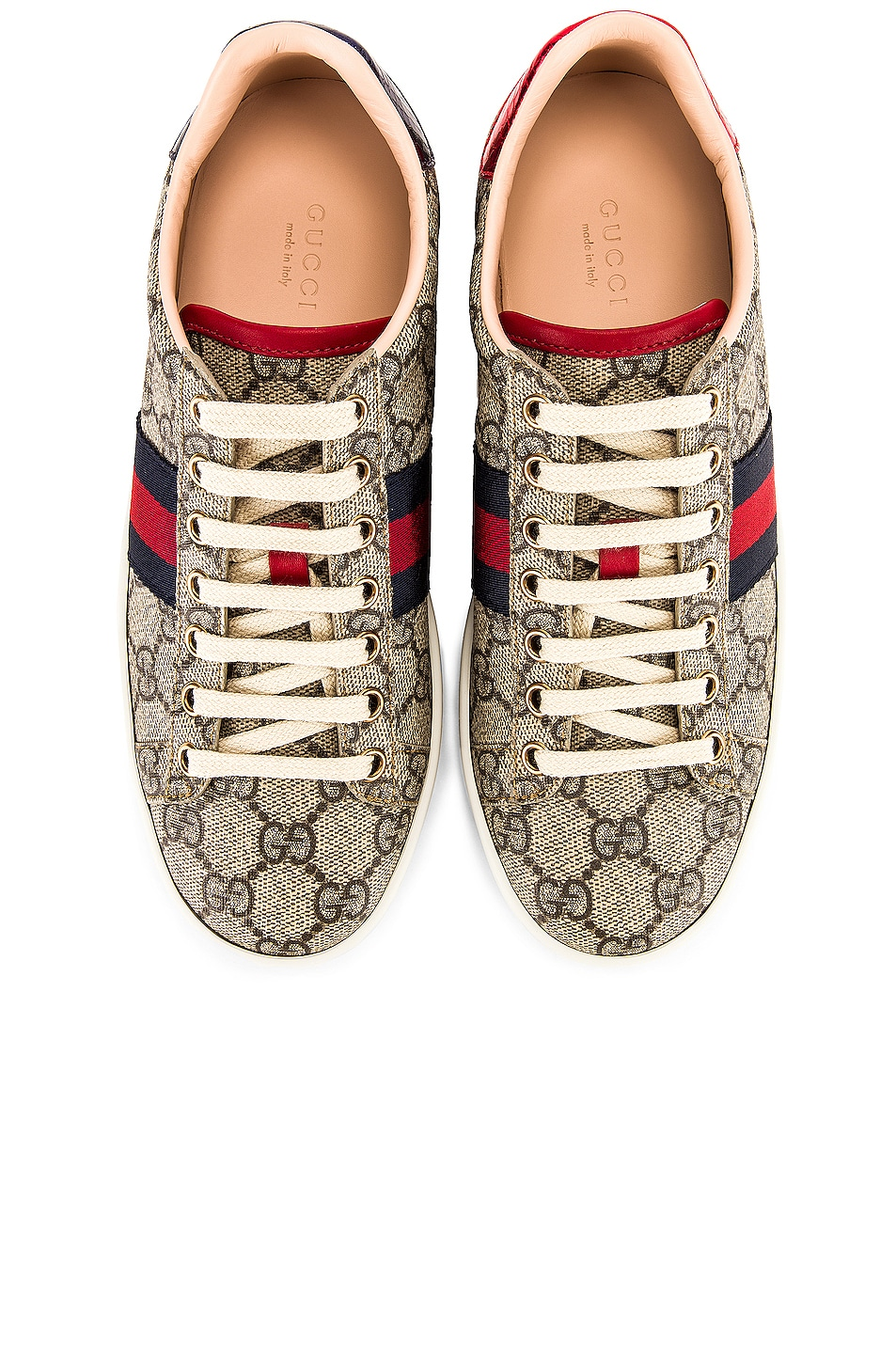 Image 1 of Gucci New Ace GG Sneakers in Beige Ebony & Red