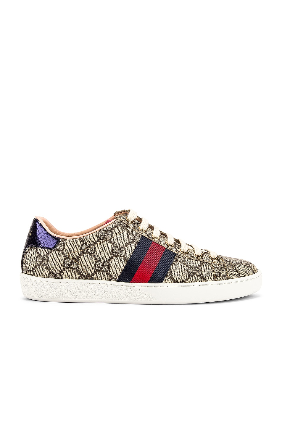 Image 2 of Gucci New Ace GG Sneakers in Beige Ebony & Red