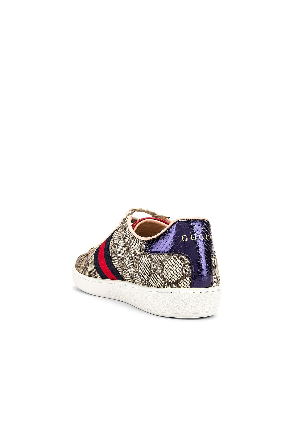 Image 4 of Gucci New Ace GG Sneakers in Beige Ebony & Red