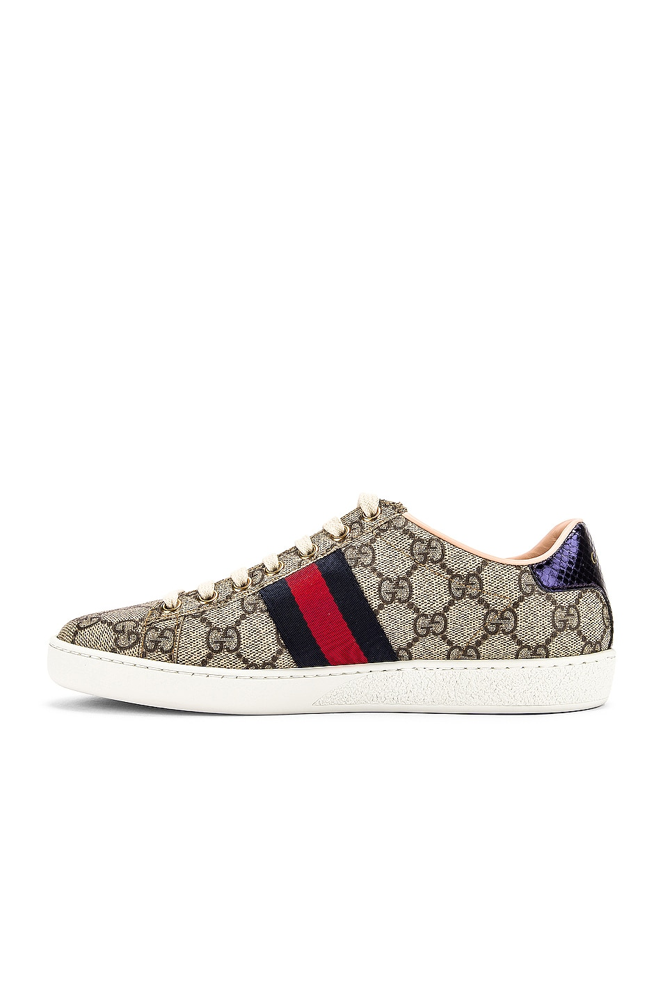 Image 5 of Gucci New Ace GG Sneakers in Beige Ebony & Red