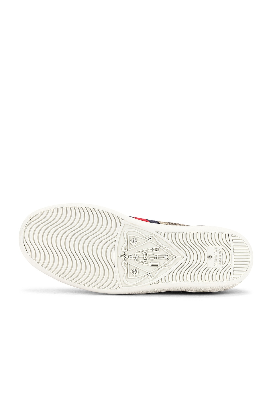 Image 6 of Gucci New Ace GG Sneakers in Beige Ebony & Red