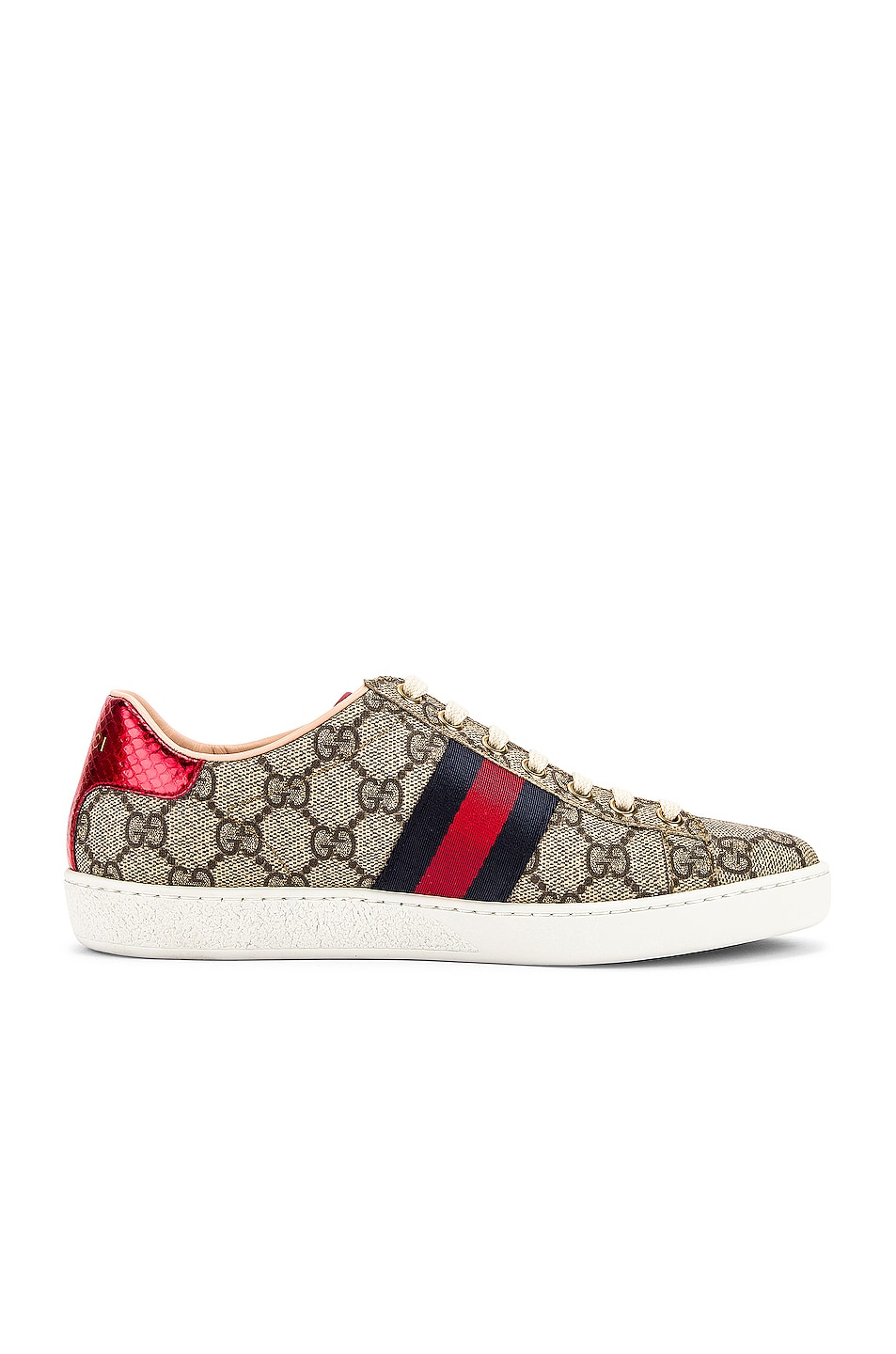 Image 7 of Gucci New Ace GG Sneakers in Beige Ebony & Red