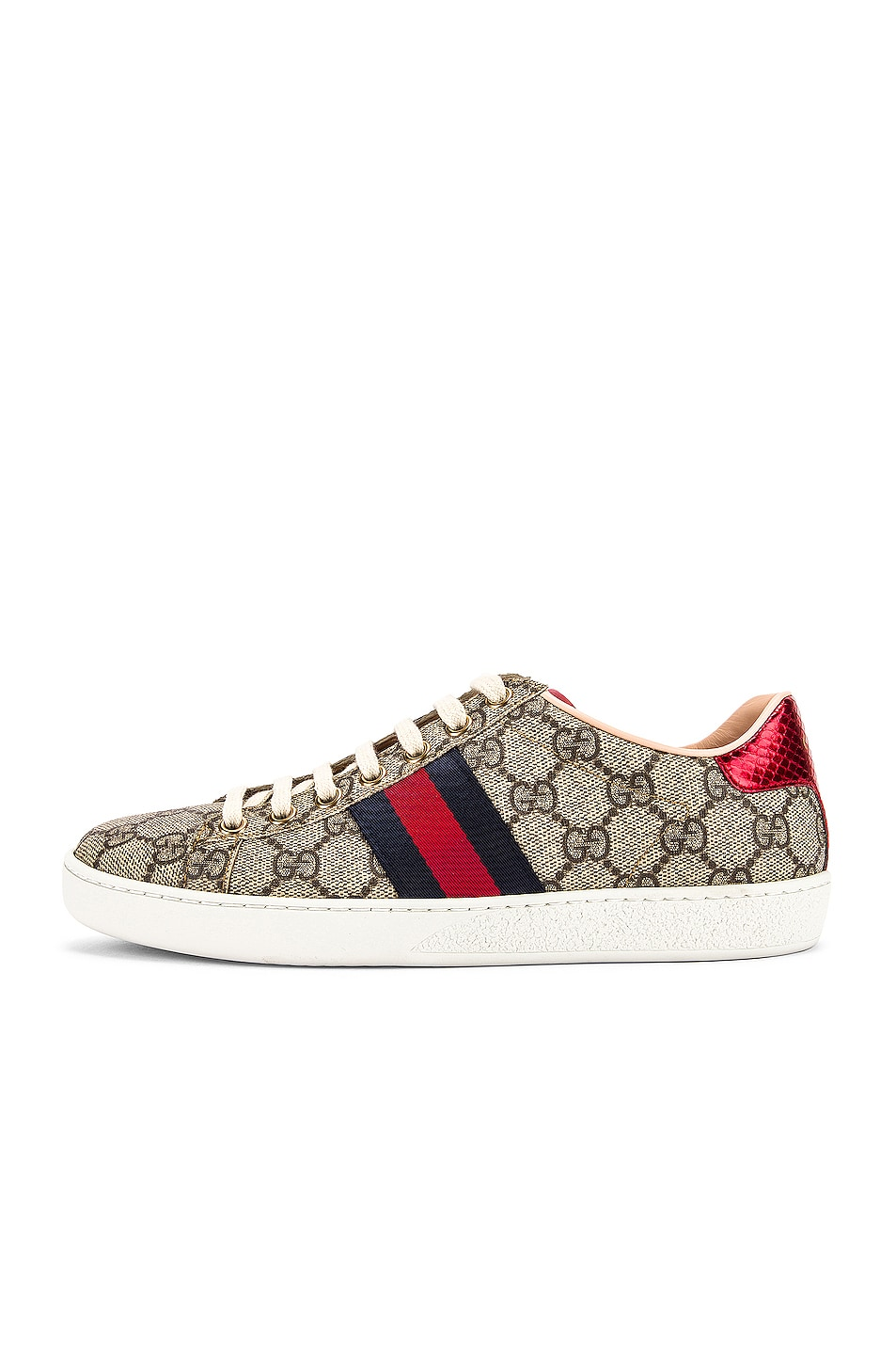 Image 8 of Gucci New Ace GG Sneakers in Beige Ebony & Red