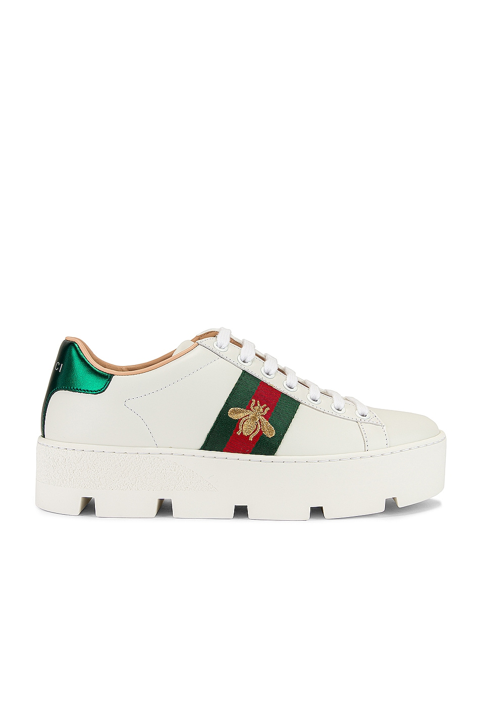 Image 1 of Gucci New Ace Platform Sneakers in White & Green & Red