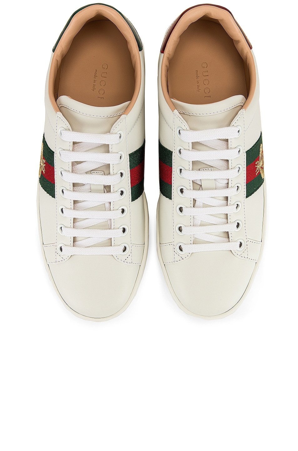 Image 2 of Gucci New Ace Platform Sneakers in White & Green & Red