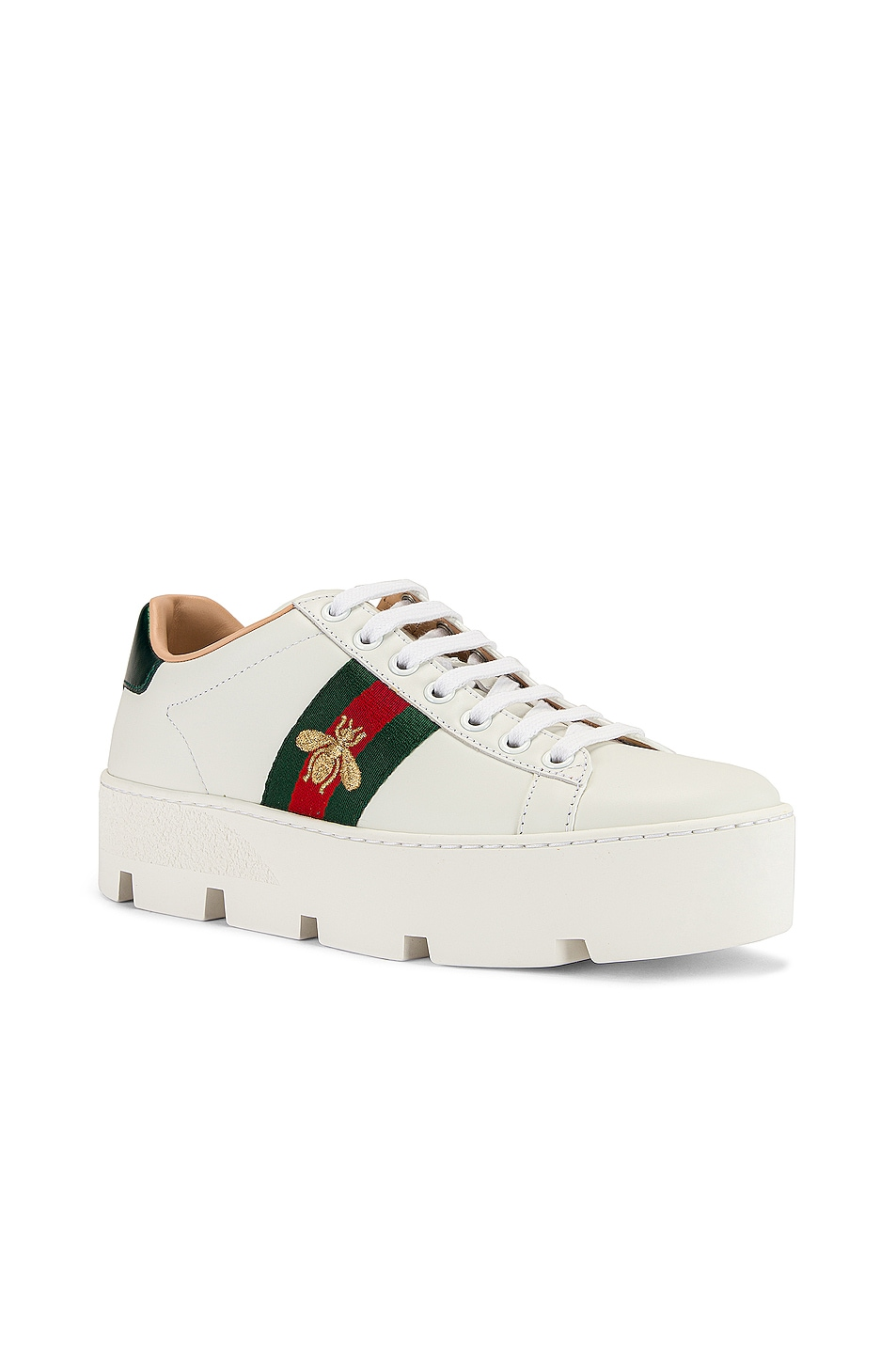 Image 3 of Gucci New Ace Platform Sneakers in White & Green & Red
