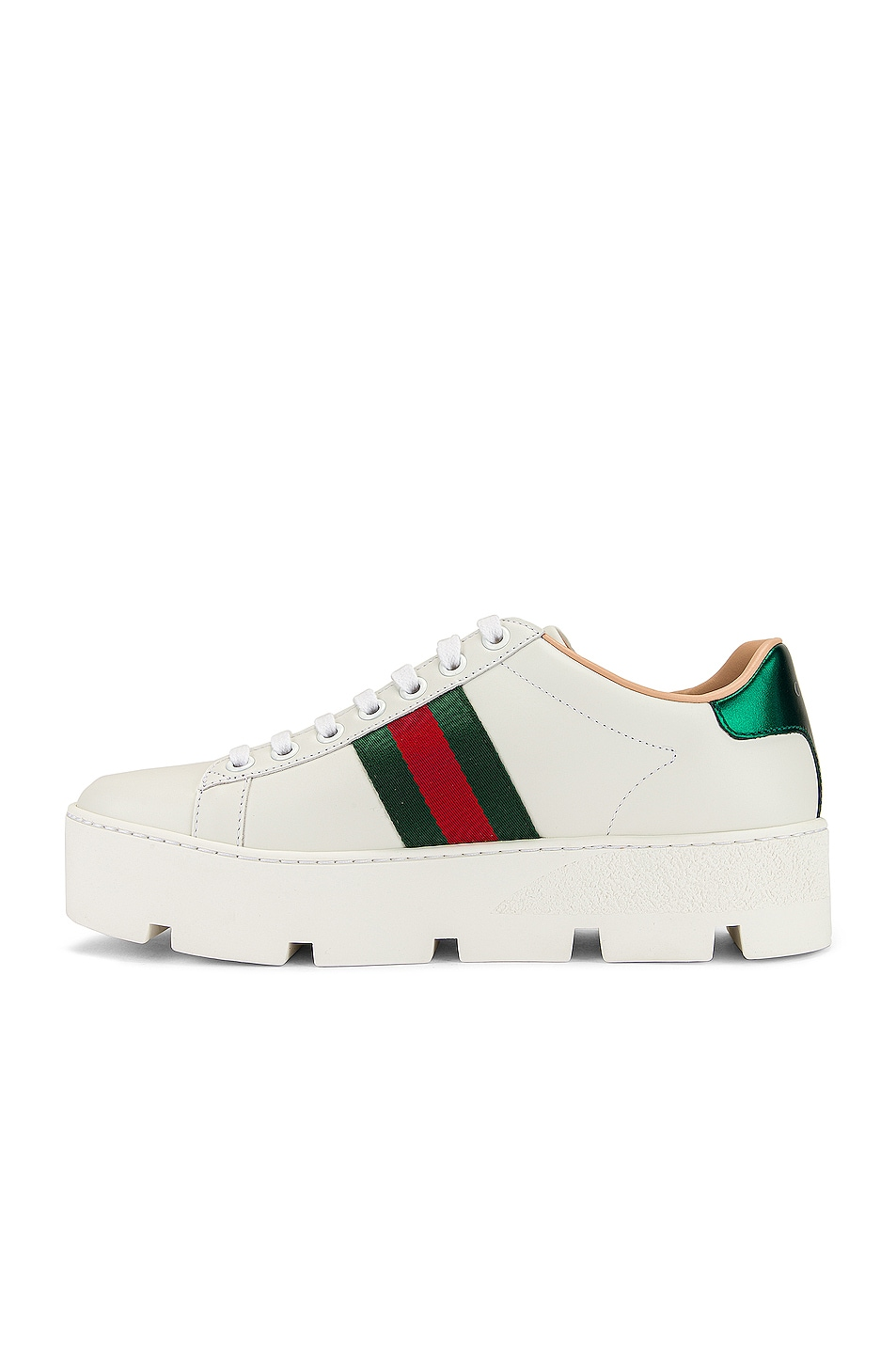 Image 5 of Gucci New Ace Platform Sneakers in White & Green & Red