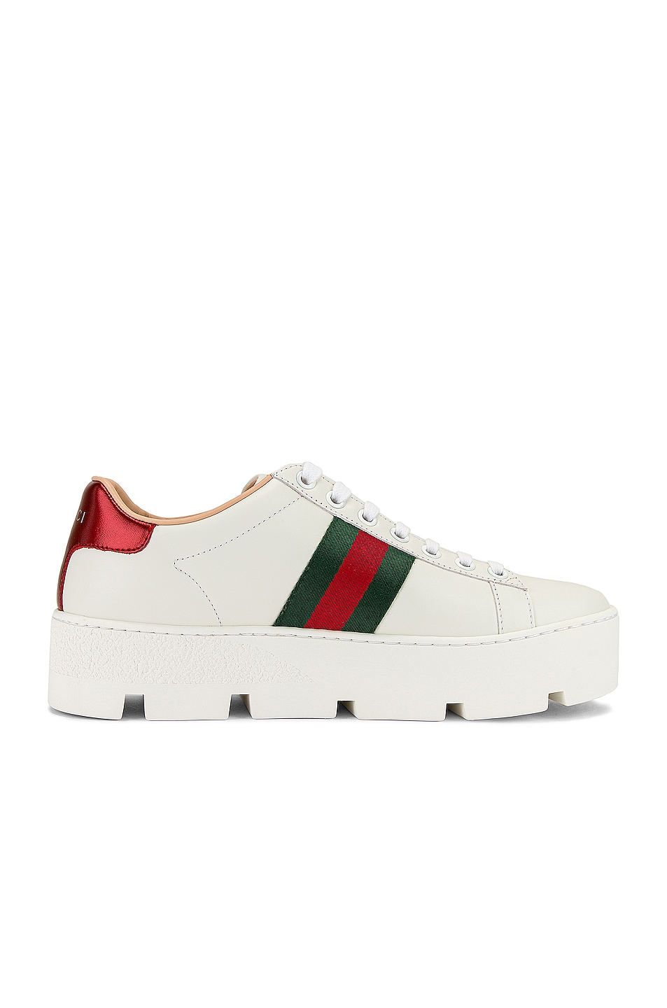 Image 7 of Gucci New Ace Platform Sneakers in White & Green & Red