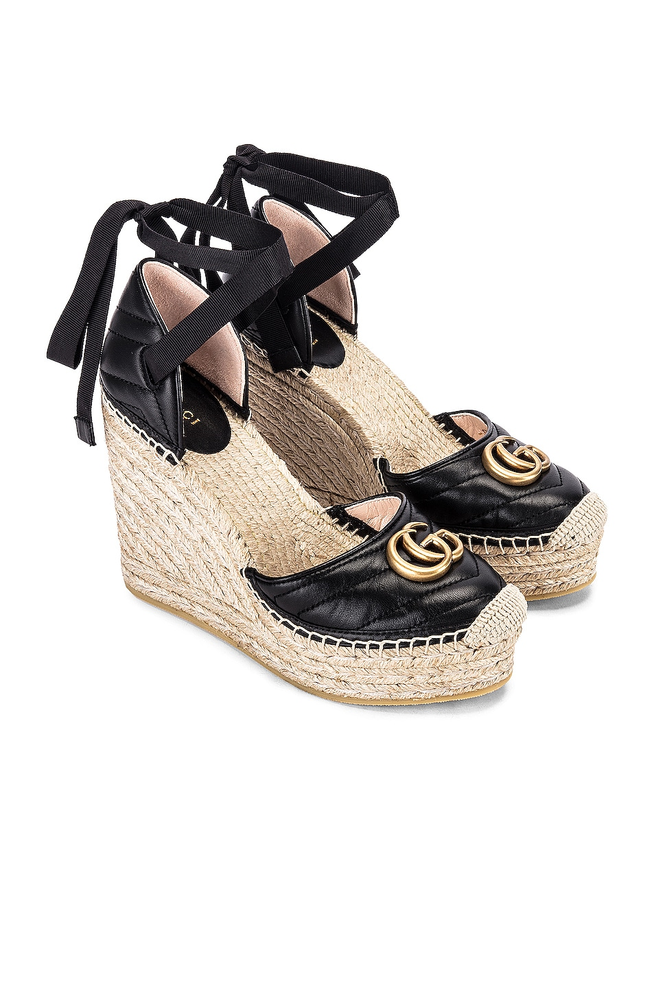 Image 1 of Gucci Leather Platform Espadrille Wedges in Black