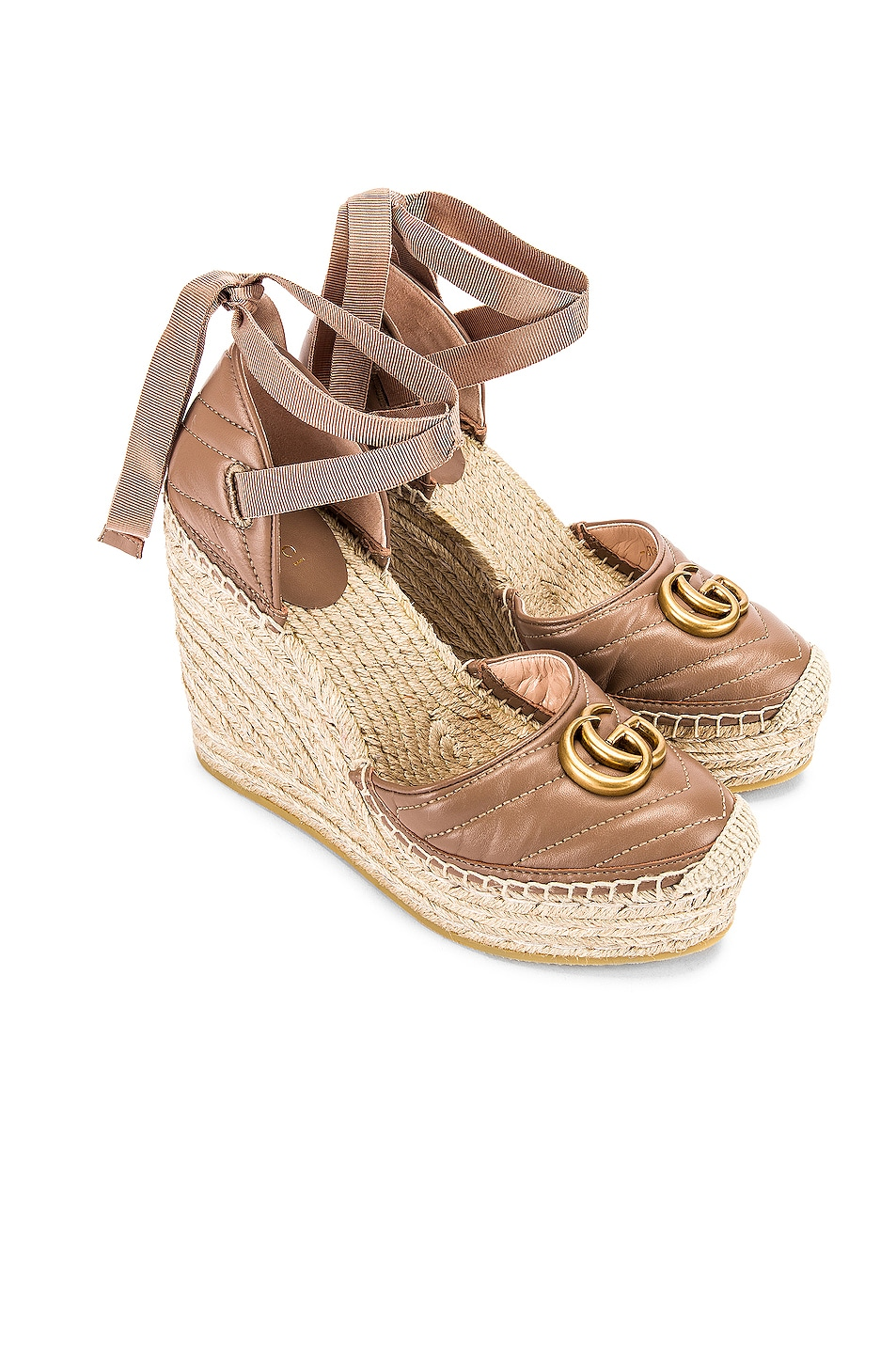 Image 1 of Gucci Leather Platform Espadrille Wedges in Rose