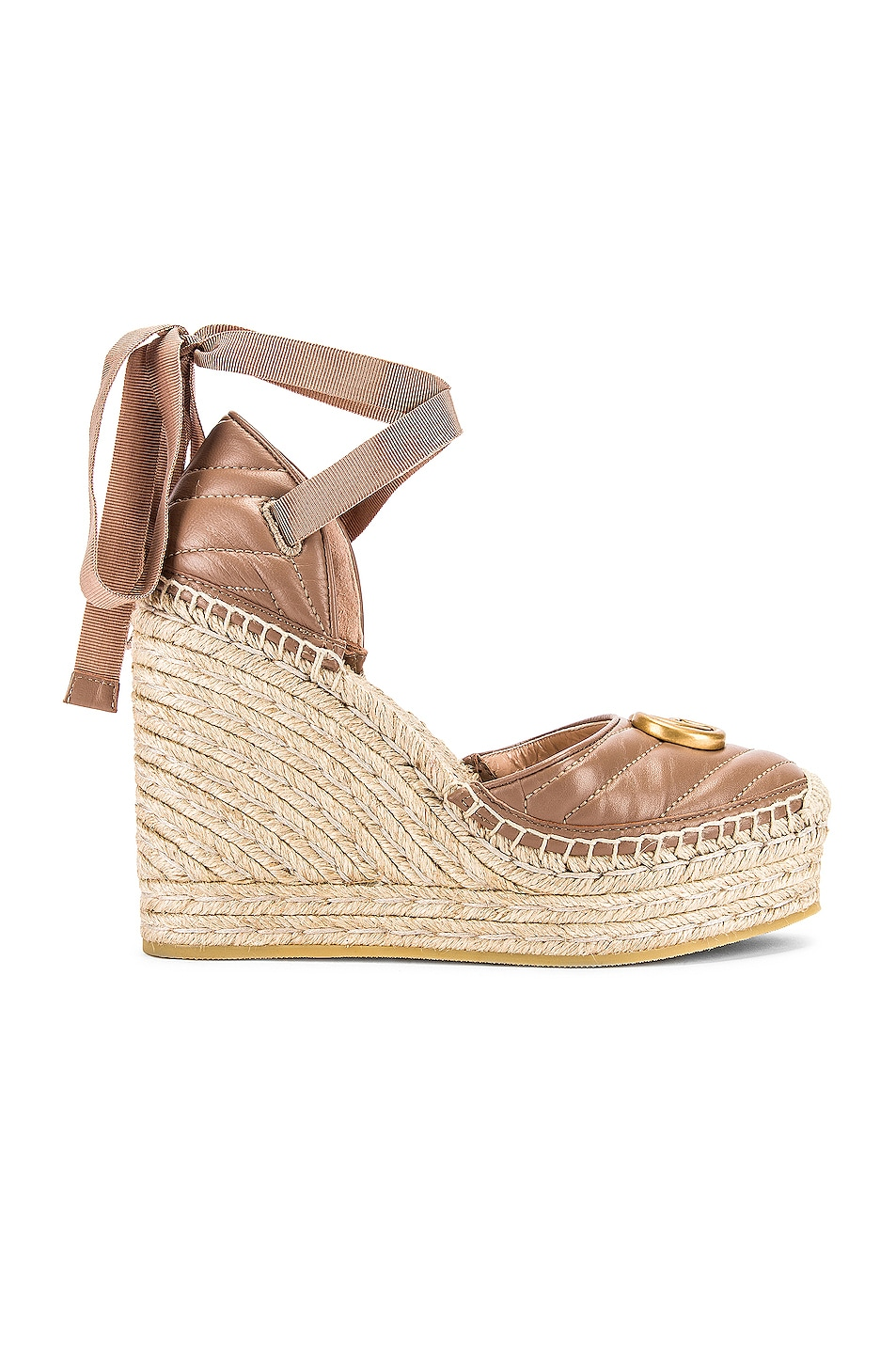 Image 2 of Gucci Leather Platform Espadrille Wedges in Rose