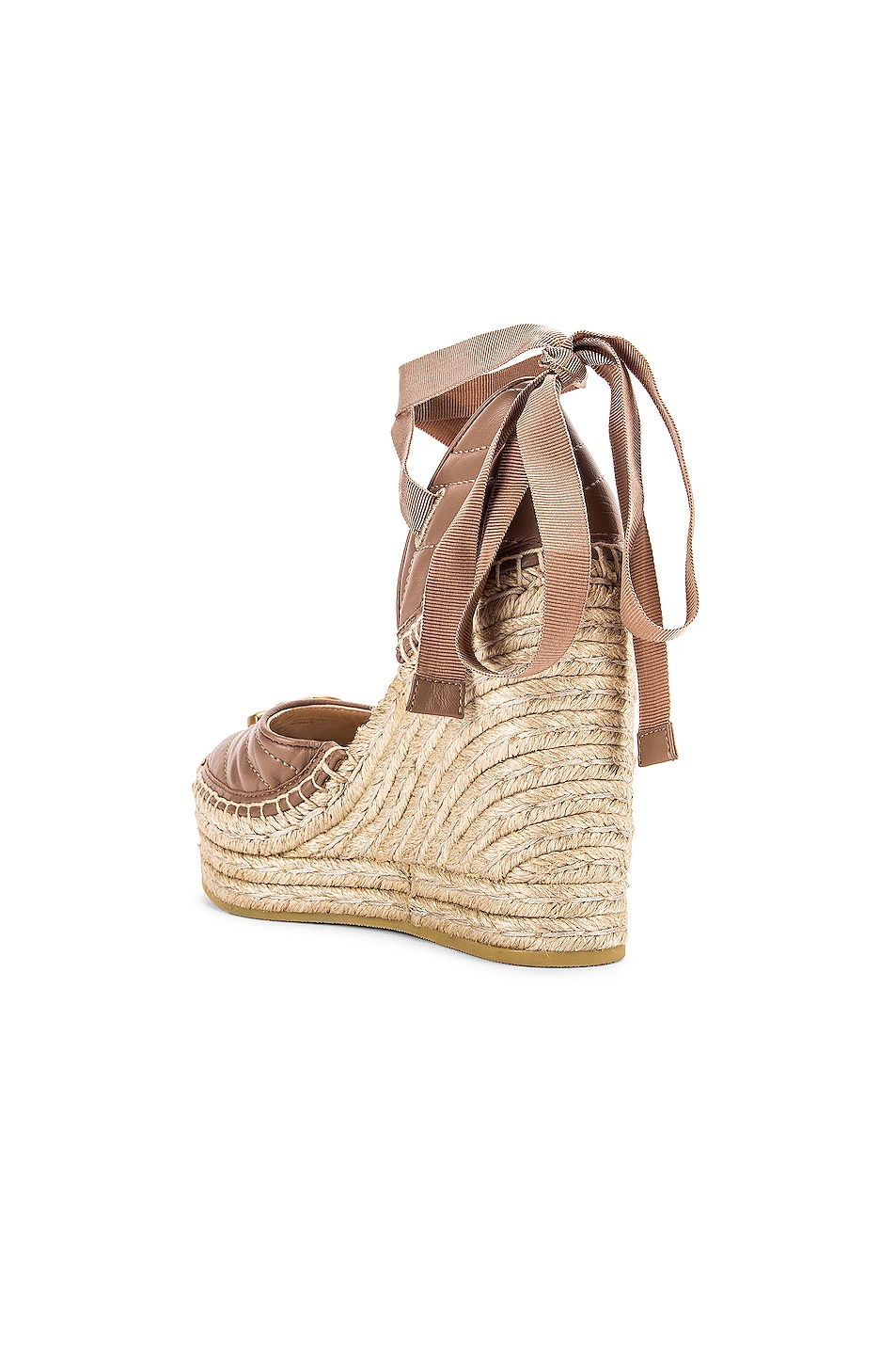 Image 4 of Gucci Leather Platform Espadrille Wedges in Rose